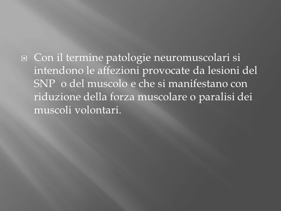 Con il termine patologie neuromuscolari si intendono le affezioni provocate da lesioni del SNP o del muscolo e che si manifestano con riduzione della forza muscolare o paralisi dei muscoli volontari.