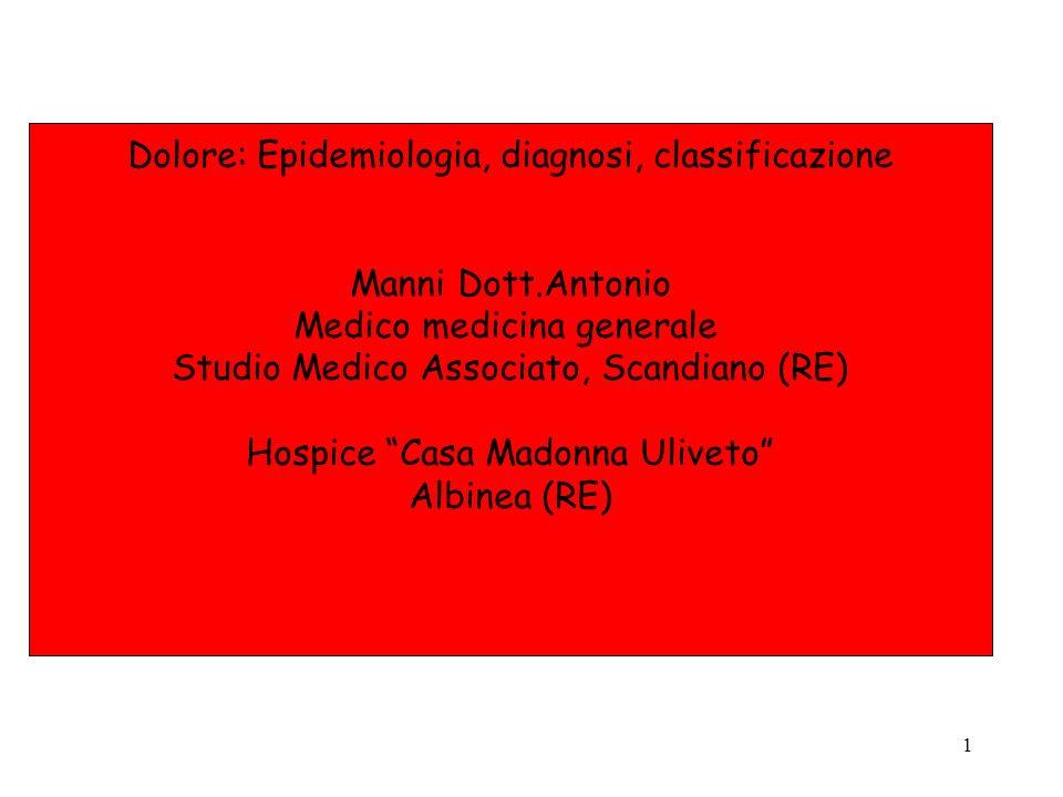 Dolore: Epidemiologia, diagnosi, classificazione