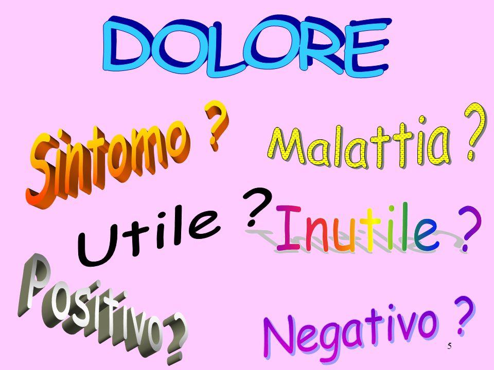 DOLORE Malattia Sintomo Utile Inutile Positivo Negativo