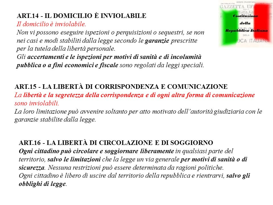 ART.14 - IL DOMICILIO È INVIOLABILE