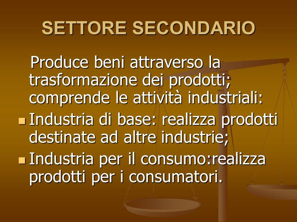 SETTORE SECONDARIO Produce beni attraverso la trasformazione dei prodotti; comprende le attività industriali:
