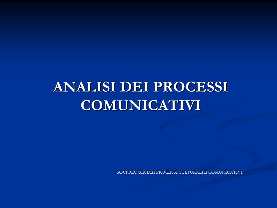 ANALISI DEI PROCESSI COMUNICATIVI