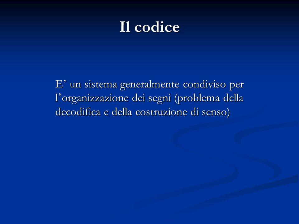 Il codice E' un sistema generalmente condiviso per l'organizzazione dei segni (problema della decodifica e della costruzione di senso)
