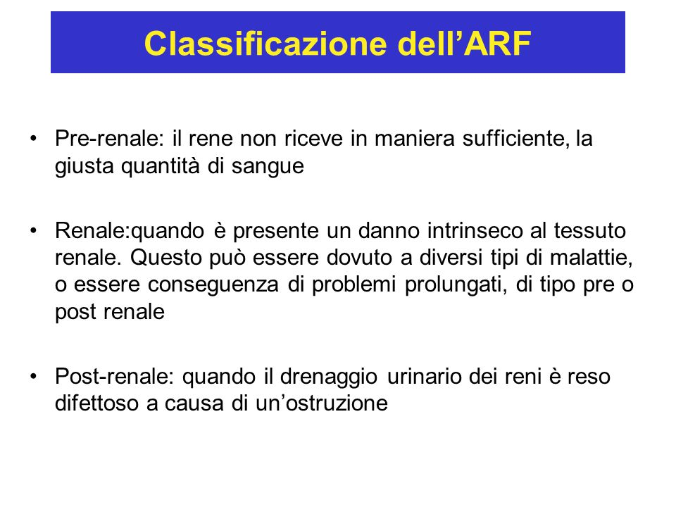 Classificazione dell'ARF