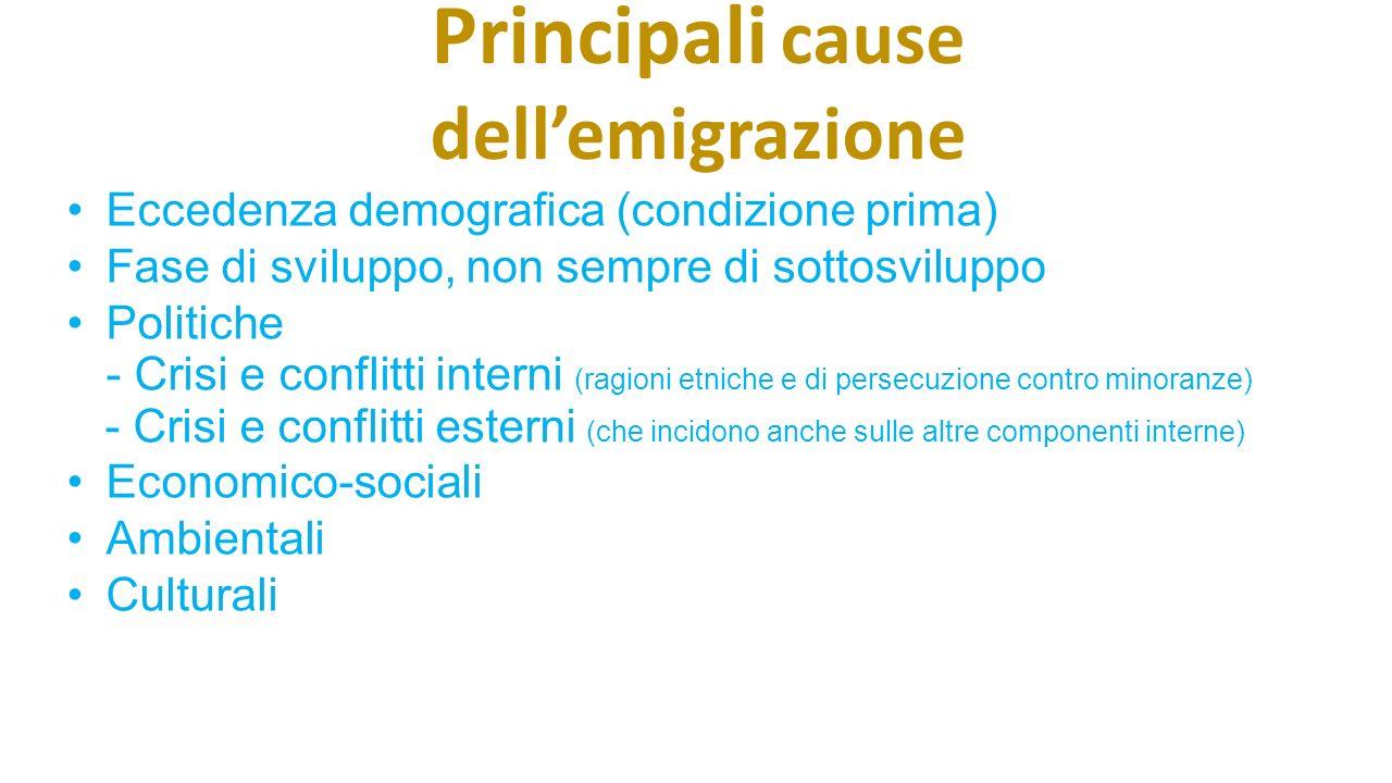 Principali cause dell'emigrazione