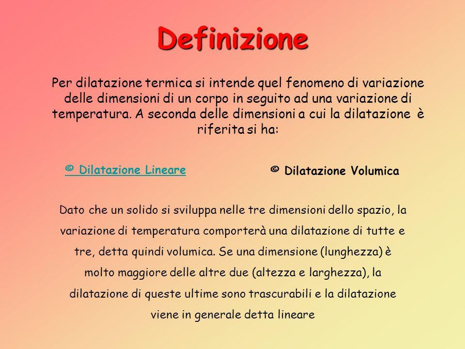 Definizione Per dilatazione termica si intende quel fenomeno di variazione. delle dimensioni di un corpo in seguito ad una variazione di.