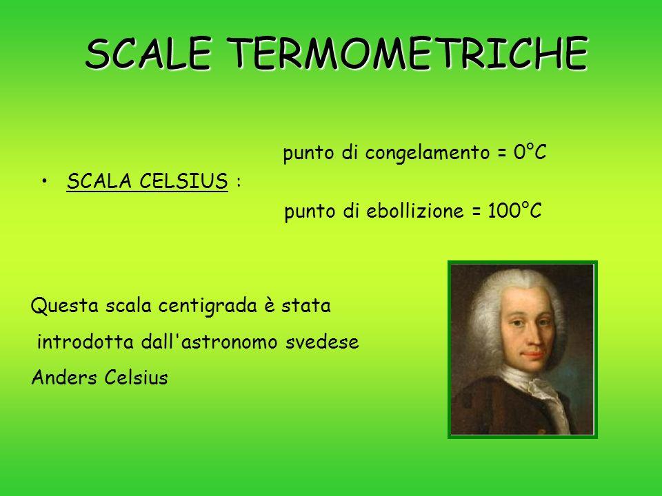 SCALE TERMOMETRICHE punto di congelamento = 0°C SCALA CELSIUS :