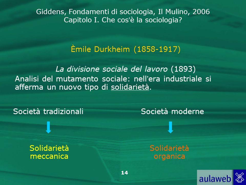 La divisione sociale del lavoro (1893)