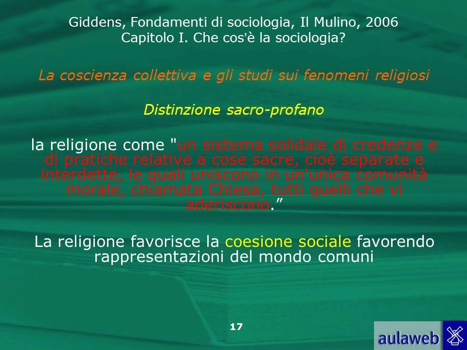 La coscienza collettiva e gli studi sui fenomeni religiosi