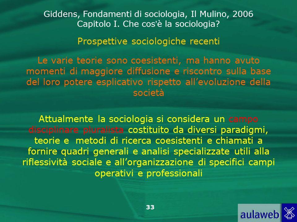 Prospettive sociologiche recenti