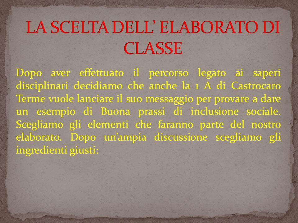 LA SCELTA DELL' ELABORATO DI CLASSE