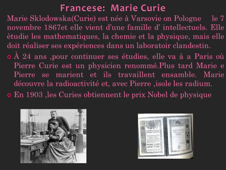 Francese: Marie Curie