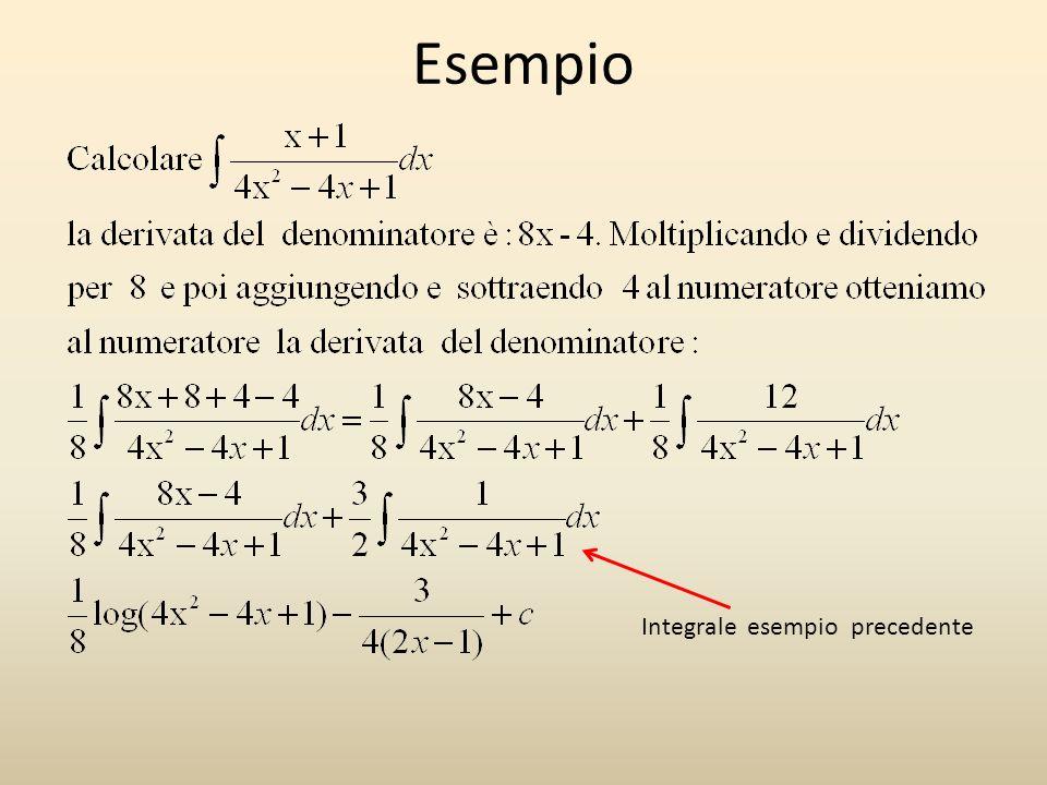 Esempio Integrale esempio precedente