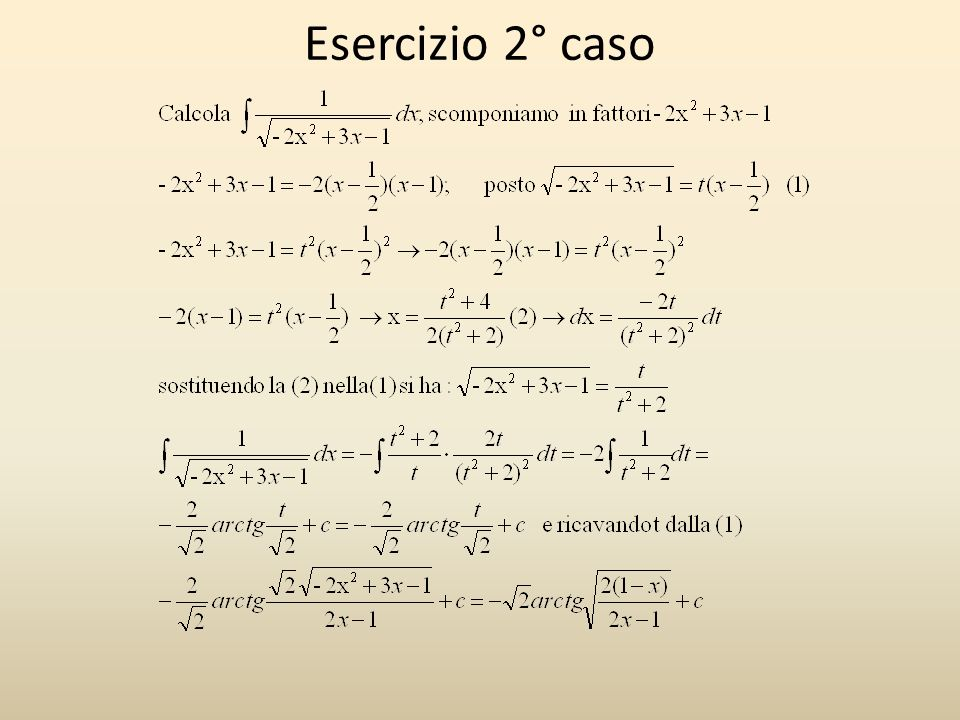Esercizio 2° caso