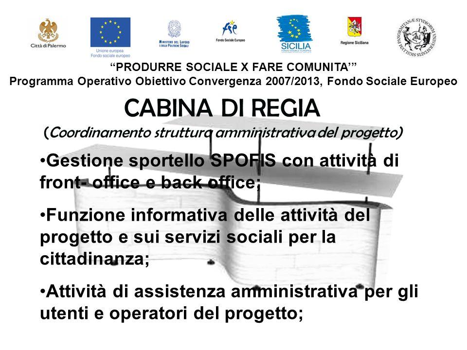 CABINA DI REGIA (Coordinamento struttura amministrativa del progetto)