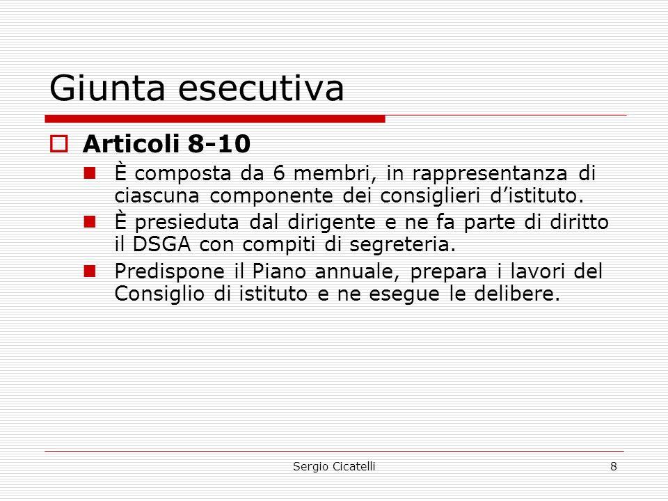 Giunta esecutiva Articoli 8-10