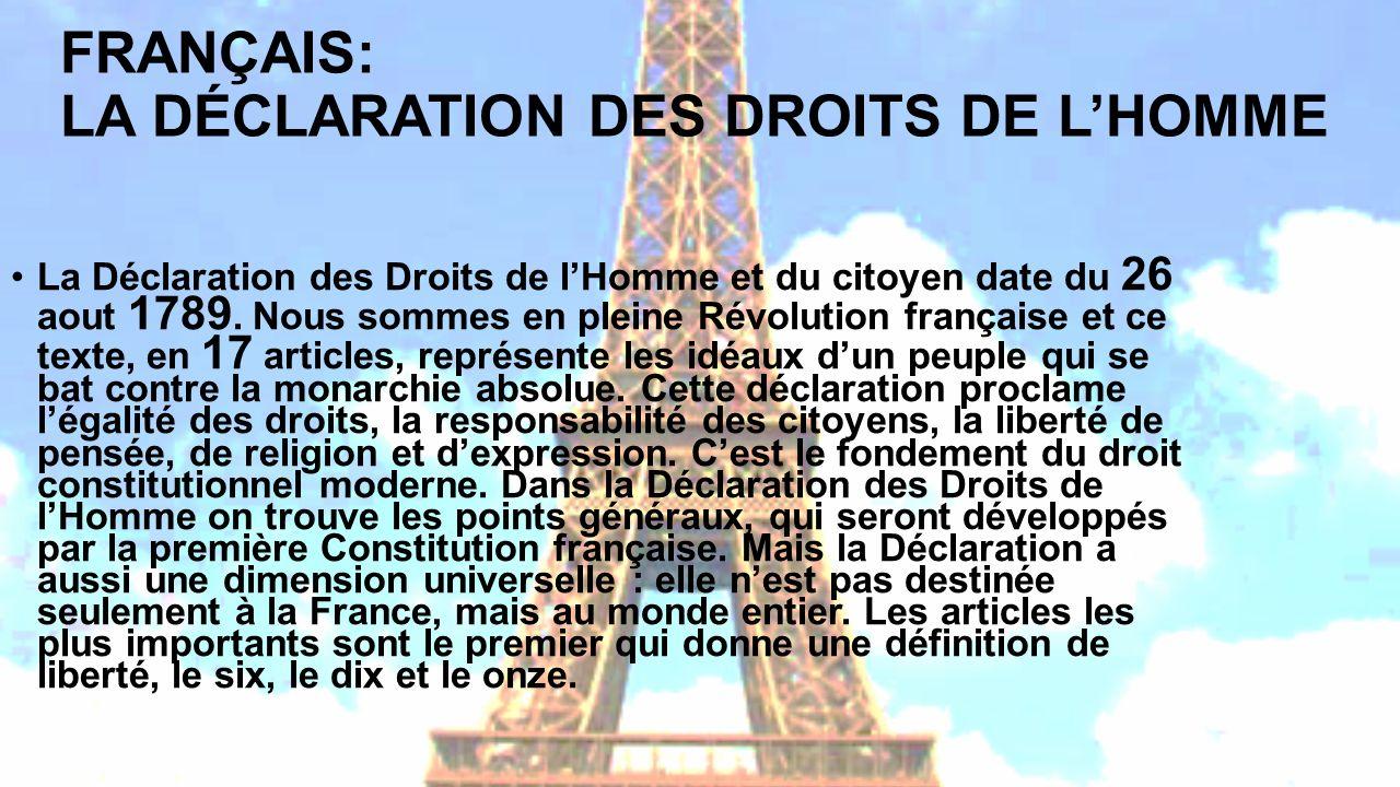 FRANÇAIS: LA DÉCLARATION DES DROITS DE L'HOMME