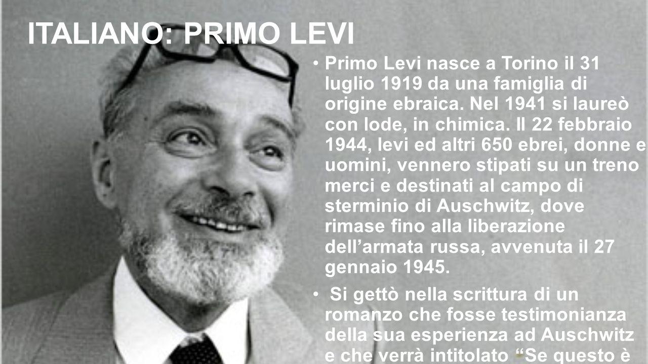 ITALIANO: PRIMO LEVI