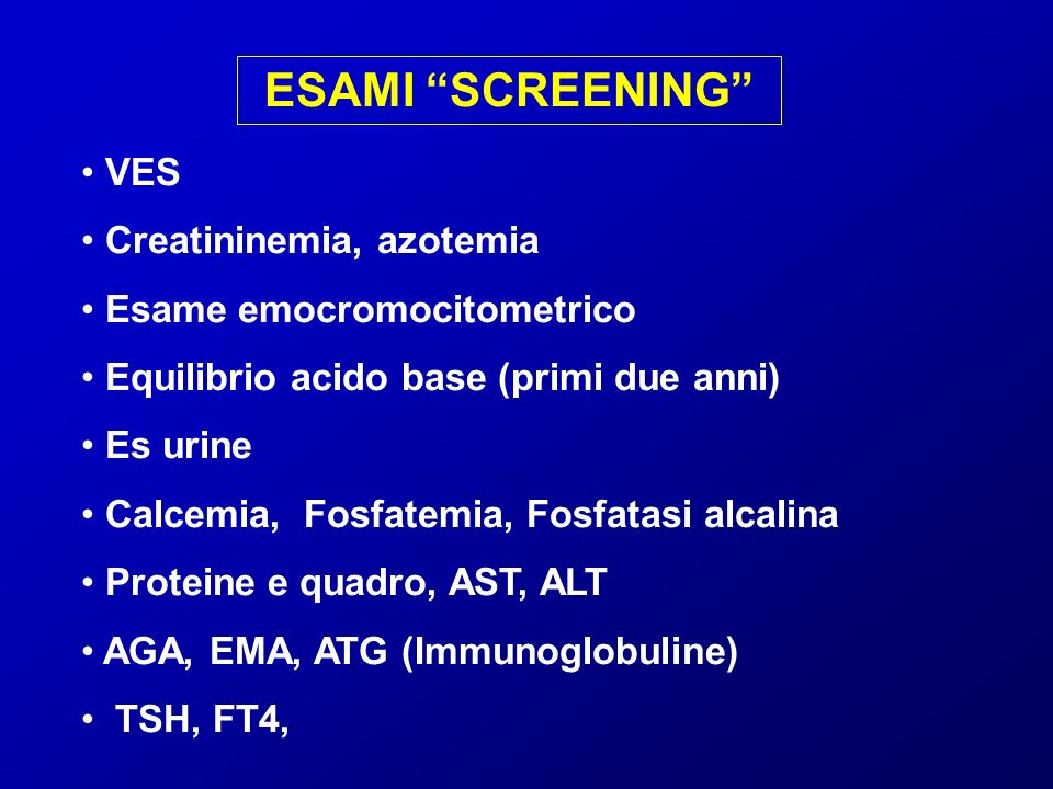 ESAMI SCREENING VES Creatininemia, azotemia