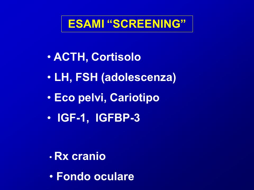 ESAMI SCREENING ACTH, Cortisolo LH, FSH (adolescenza)