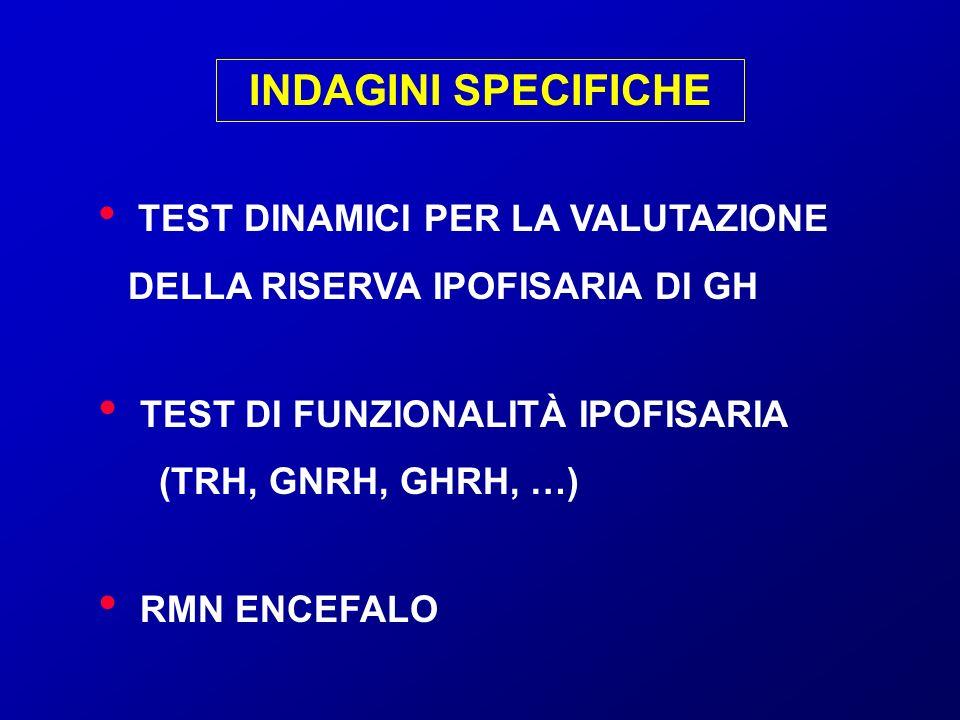 INDAGINI SPECIFICHE TEST DINAMICI PER LA VALUTAZIONE DELLA RISERVA IPOFISARIA DI GH.
