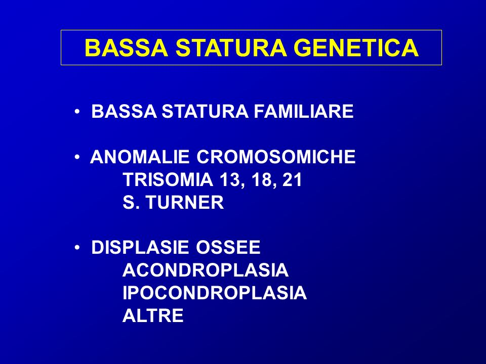 BASSA STATURA GENETICA