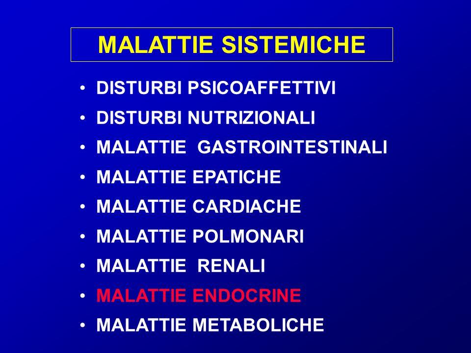 MALATTIE SISTEMICHE DISTURBI PSICOAFFETTIVI DISTURBI NUTRIZIONALI