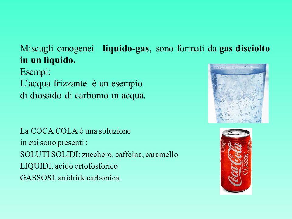 L'acqua frizzante è un esempio di diossido di carbonio in acqua.