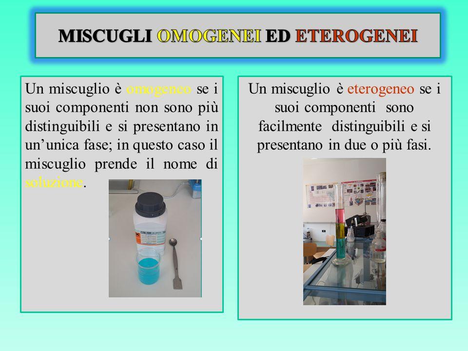 MISCUGLI OMOGENEI ED ETEROGENEI