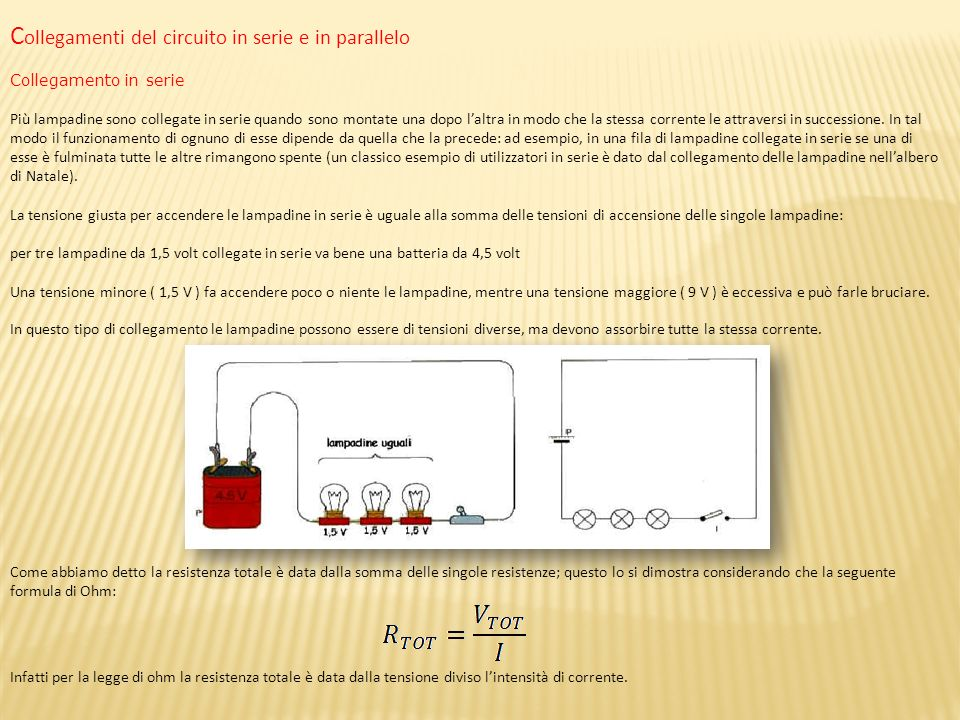 Collegamenti del circuito in serie e in parallelo