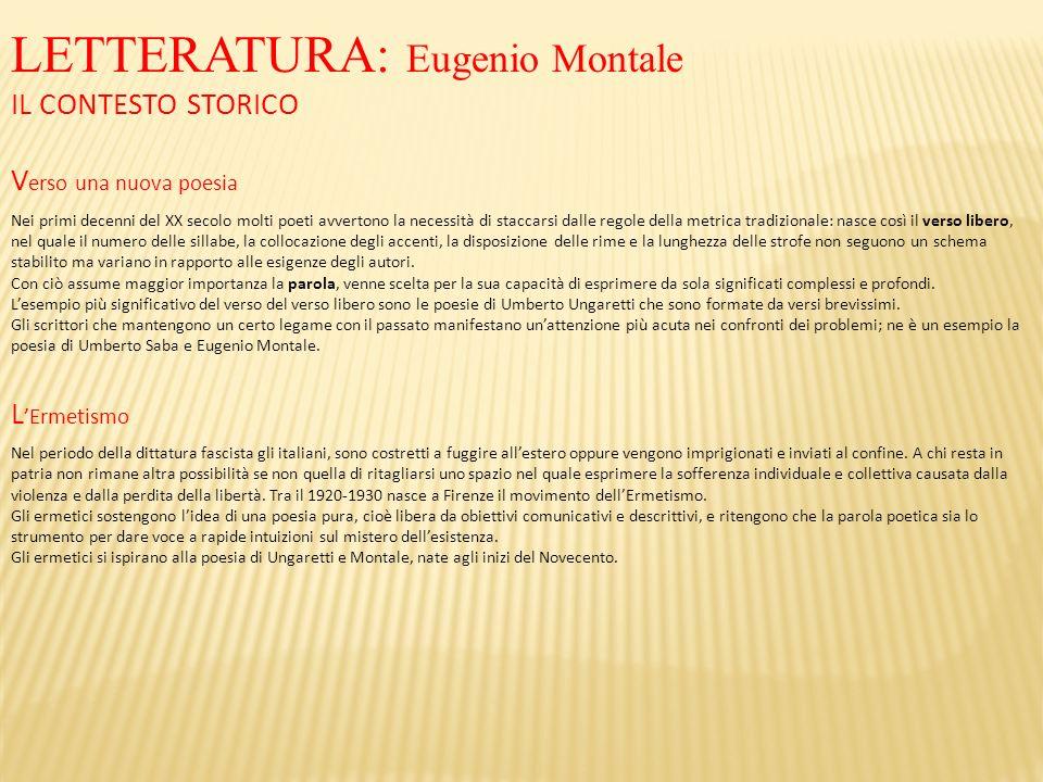 LETTERATURA: Eugenio Montale