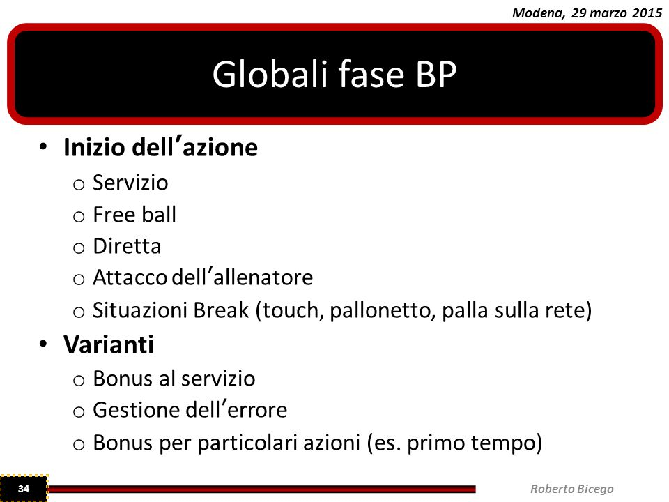 Globali fase BP Inizio dell'azione Varianti Servizio Free ball Diretta