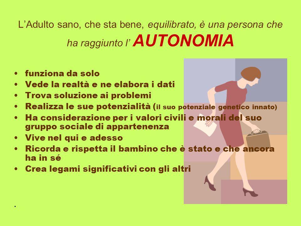 L'Adulto sano, che sta bene, equilibrato, è una persona che ha raggiunto l' AUTONOMIA