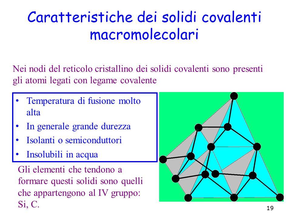 Caratteristiche dei solidi covalenti macromolecolari