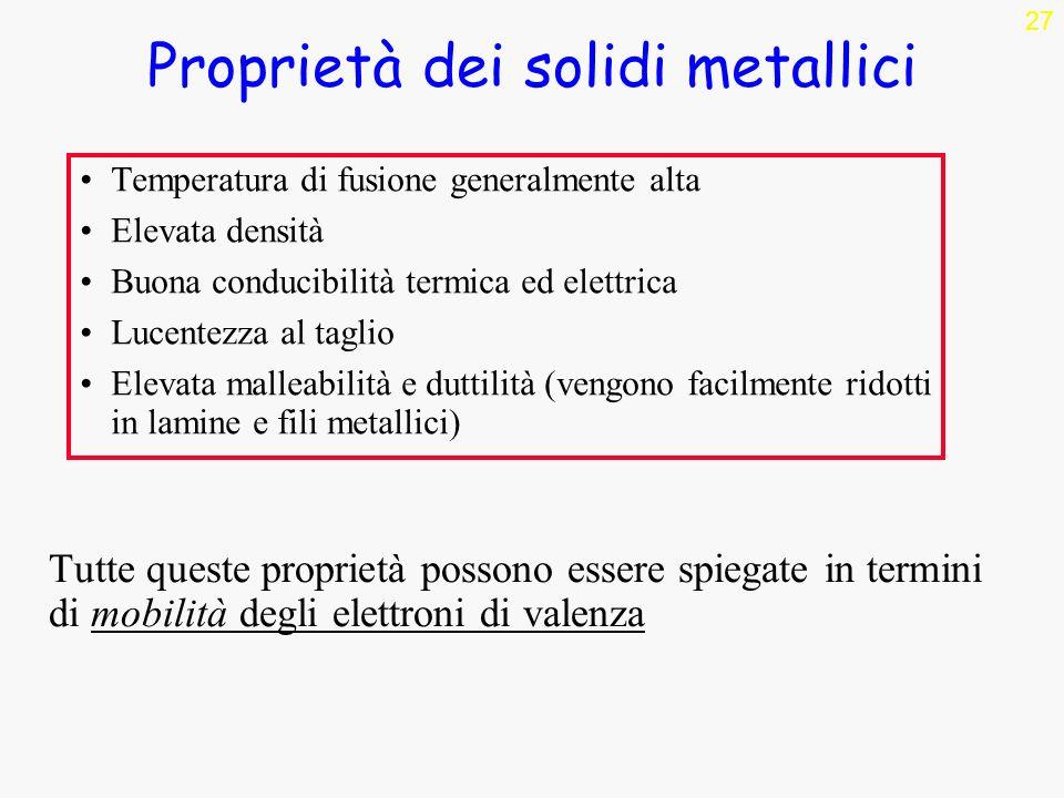 Proprietà dei solidi metallici