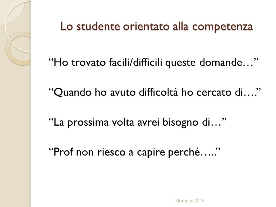 Lo studente orientato alla competenza