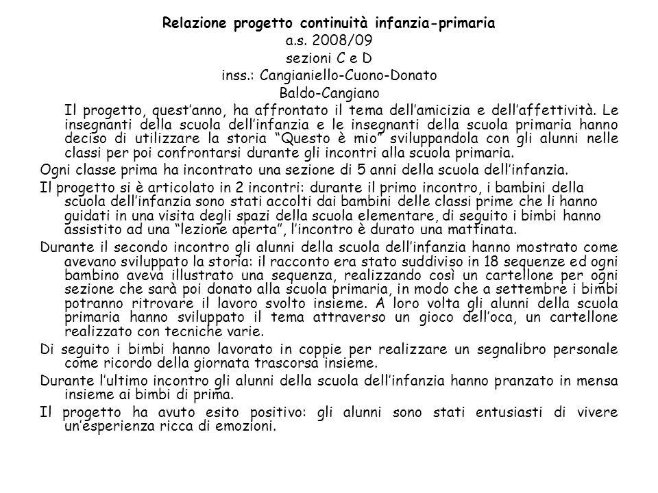 Relazione progetto continuità infanzia-primaria a.s. 2008/09