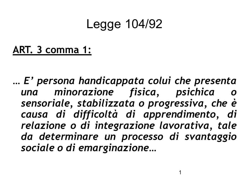 legge 104 92 art 3 comma 1 e persona handicappata