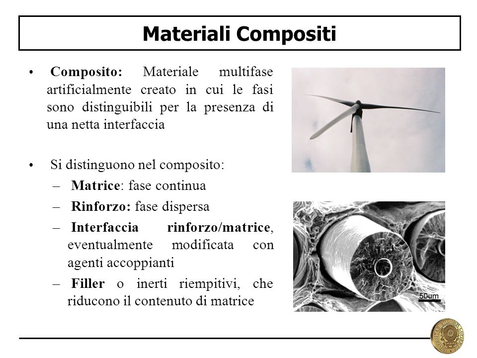 Materiali Compositi Matrice: fase continua Rinforzo: fase dispersa