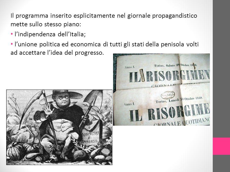 Il programma inserito esplicitamente nel giornale propagandistico mette sullo stesso piano: