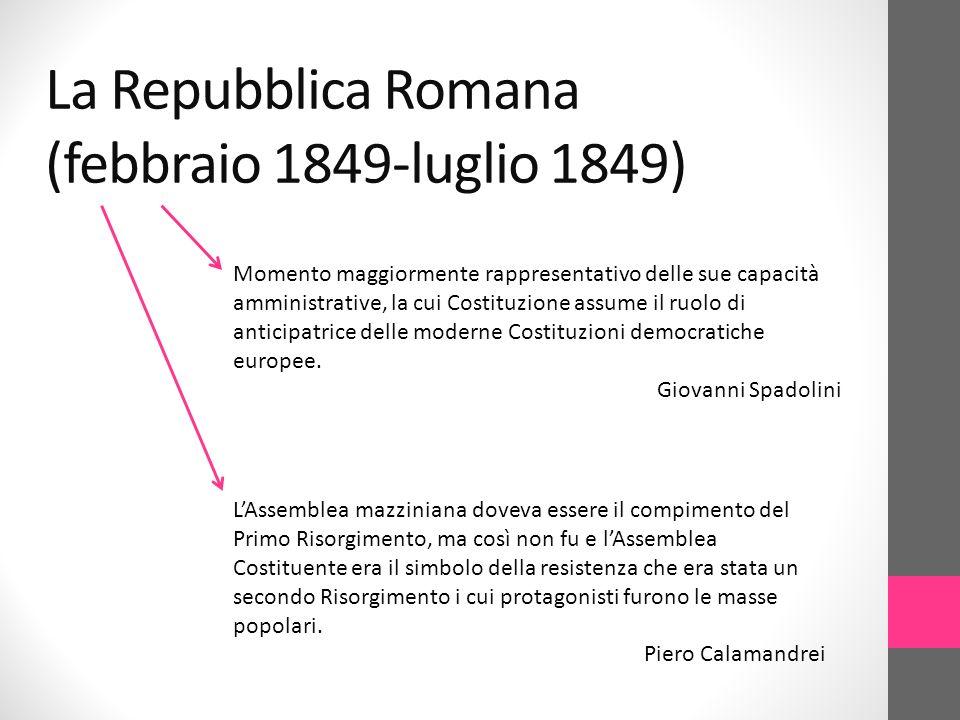 La Repubblica Romana (febbraio 1849-luglio 1849)