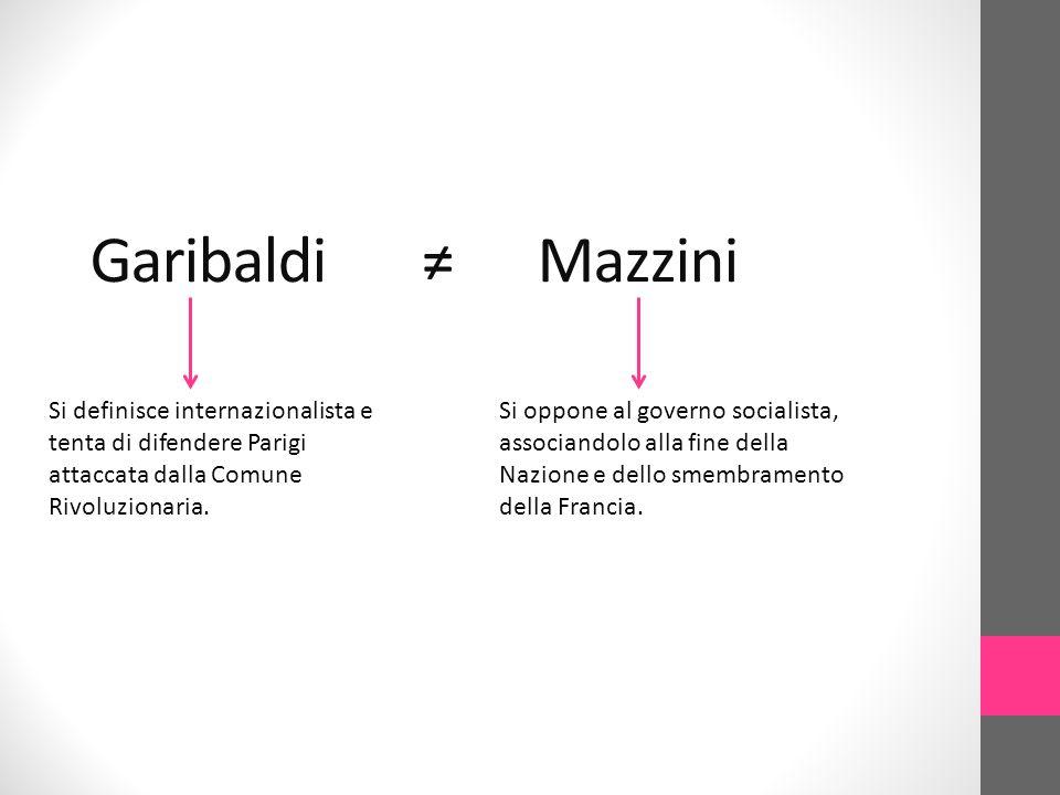 Garibaldi ≠ Mazzini Si definisce internazionalista e tenta di difendere Parigi attaccata dalla Comune Rivoluzionaria.