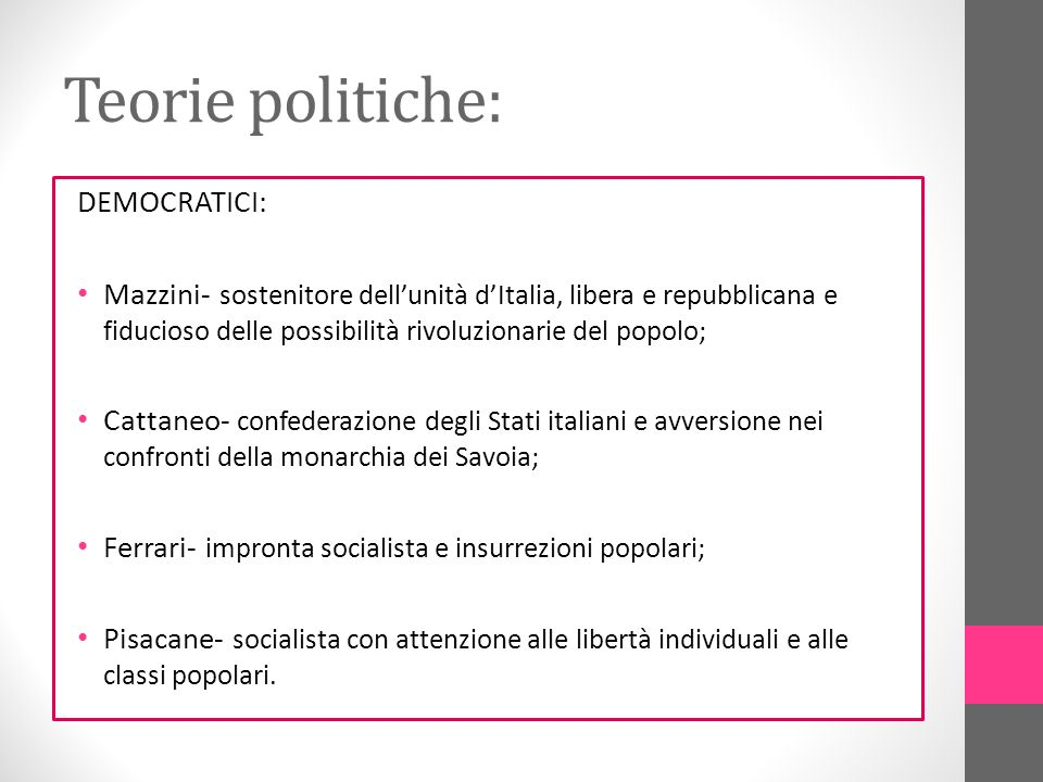 Teorie politiche: DEMOCRATICI: