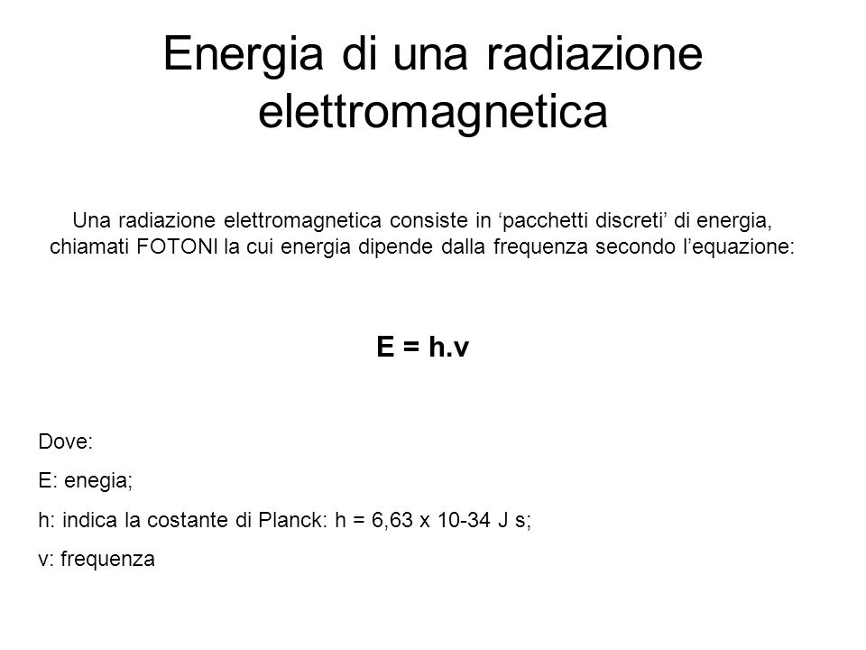 Energia di una radiazione elettromagnetica