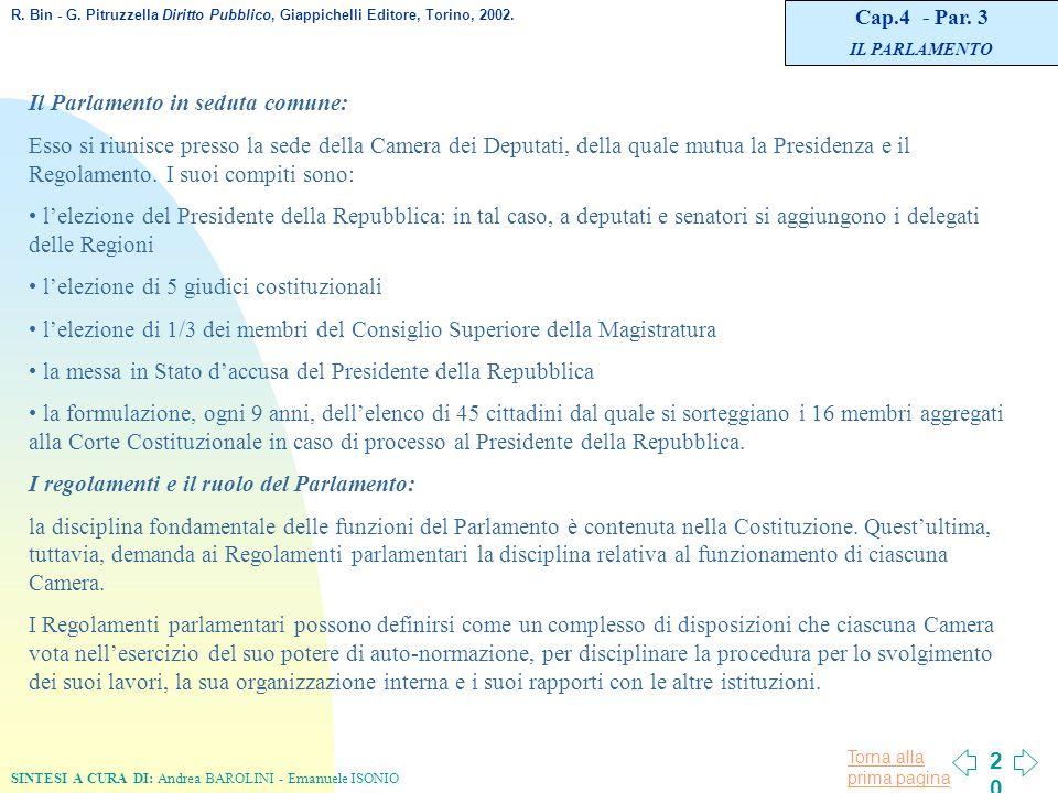 L organizzazione costituzionale in italia ppt scaricare for Il parlamento in seduta comune