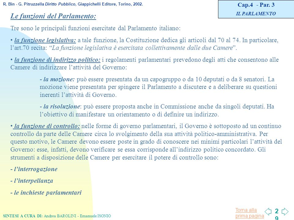 L organizzazione costituzionale in italia ppt scaricare for Indirizzo parlamento italiano