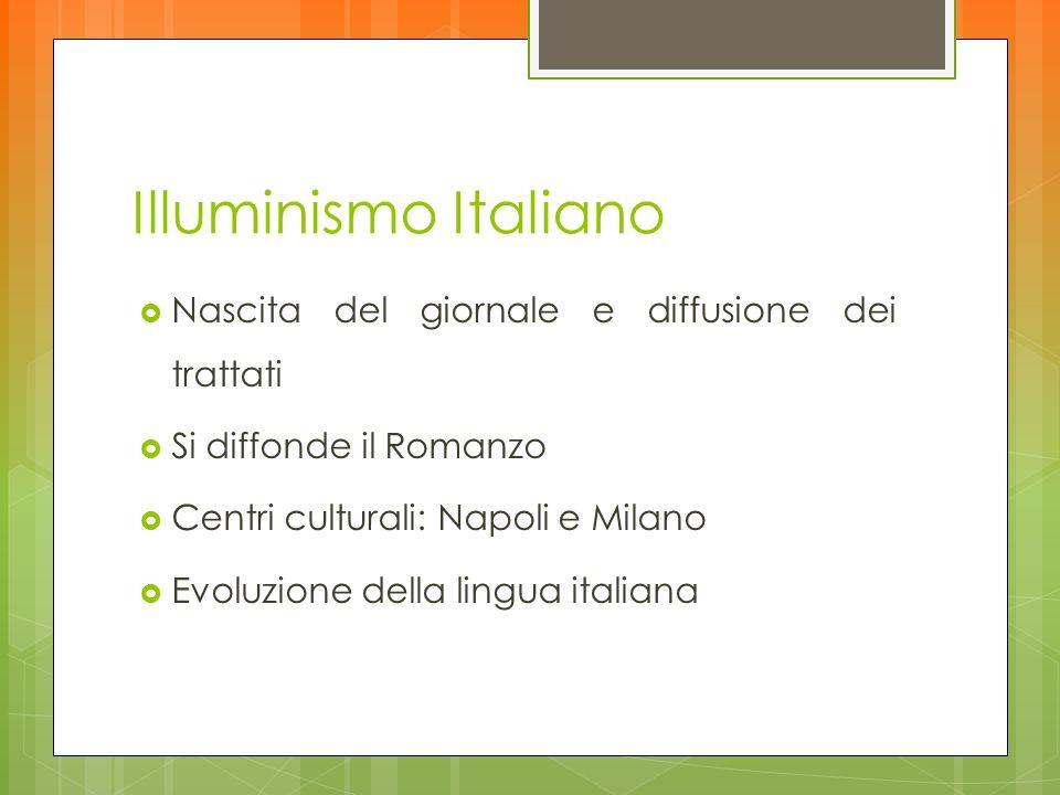 Illuminismo Italiano Nascita del giornale e diffusione dei trattati