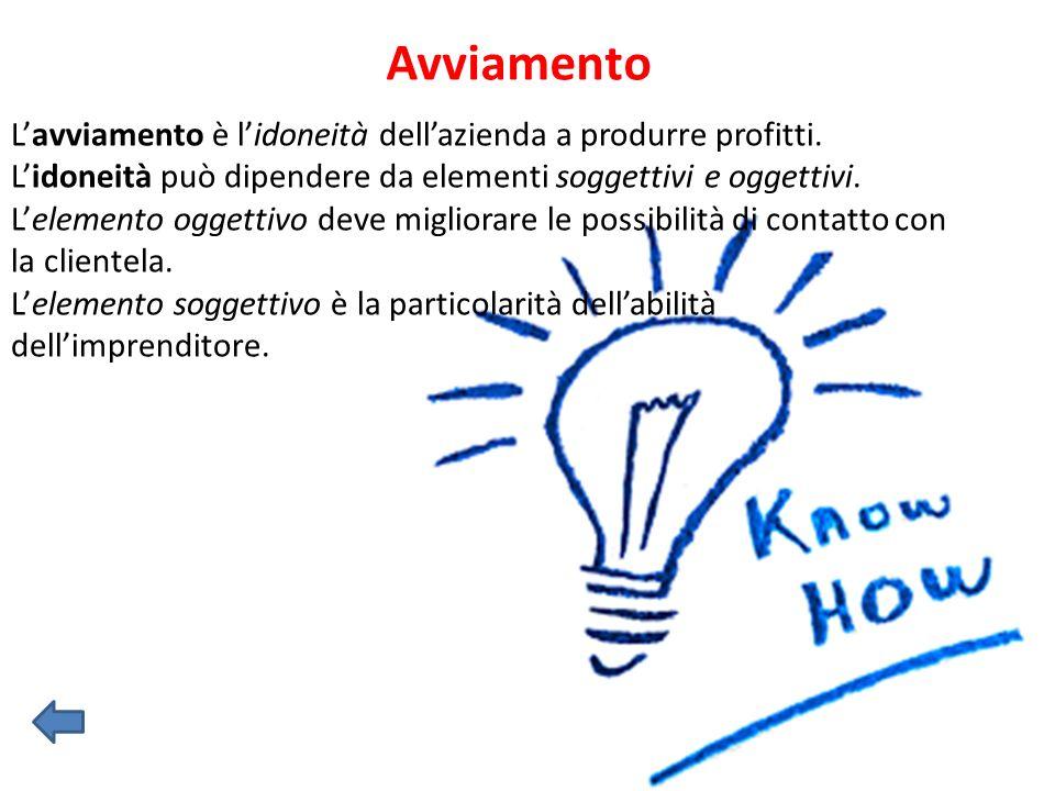 Avviamento L'avviamento è l'idoneità dell'azienda a produrre profitti.
