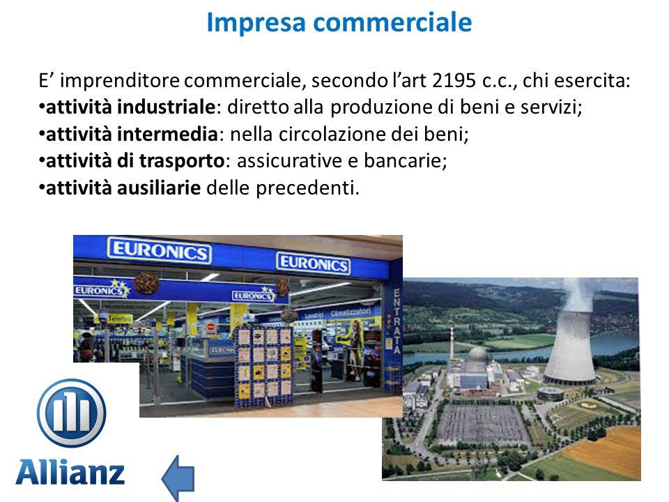 Impresa commerciale E' imprenditore commerciale, secondo l'art 2195 c.c., chi esercita: