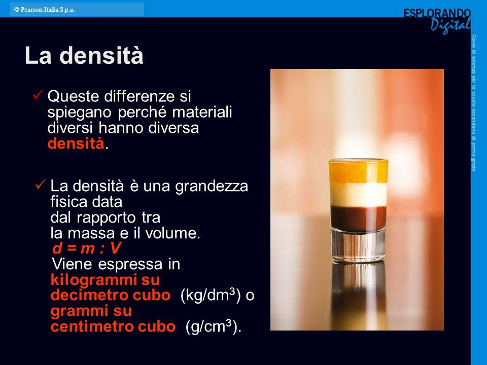 © Pearson Italia S.p.a. La densità. Queste differenze si spiegano perché materiali diversi hanno diversa densità.